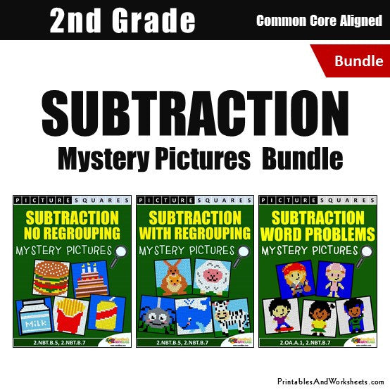 Grade 2 Subtraction Mystery Pictures Coloring Worksheets Bundle