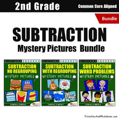2nd Grade Subtraction Mystery Pictures Coloring Worksheets Bundle