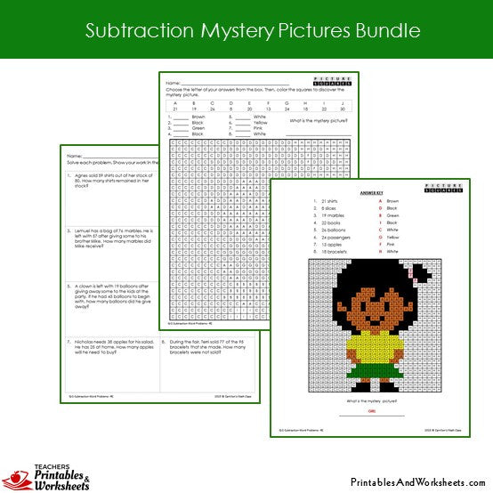 math worksheet : 2nd grade subtraction mystery pictures coloring worksheets bundle  : Subtraction Mystery Picture Worksheet