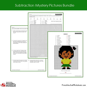 Grade 2 Subtraction Mystery Pictures Coloring Worksheets Sample 3