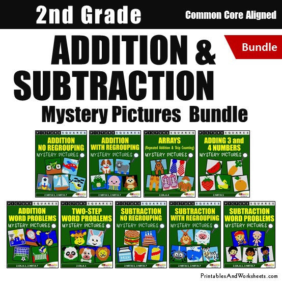 Grade 2 Addition and Subtraction Mystery Pictures Coloring Worksheets