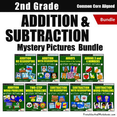 2nd Grade Addition and Subtraction Mystery Pictures Coloring Worksheets Bundle