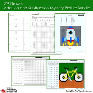 Grade 2 Addition and Subtraction Mystery Pictures Coloring Worksheets Sample 1