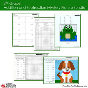 Grade 2 Addition and Subtraction Mystery Pictures Coloring Worksheets Sample 2