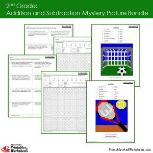 Grade 2 Addition and Subtraction Mystery Pictures Coloring Worksheets Sample 3