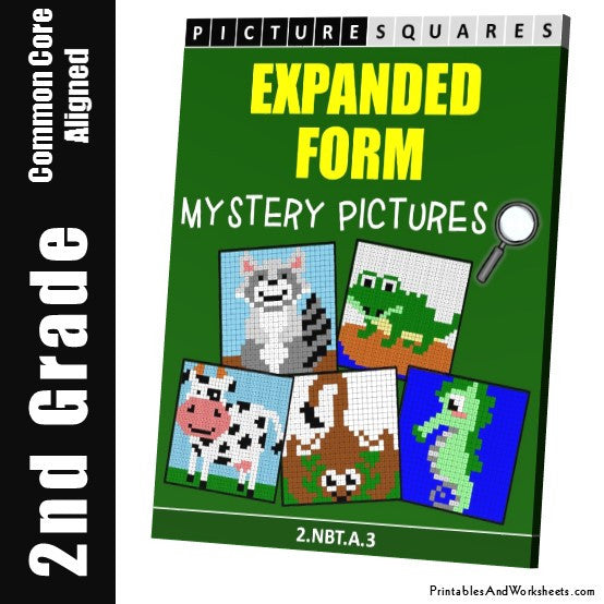 Grade 2 Expanded Form Mystery Pictures Coloring Worksheets