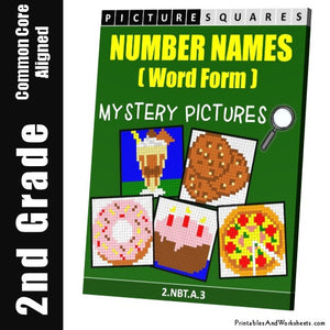 Grade 2 Number Names Mystery Pictures Coloring Worksheets