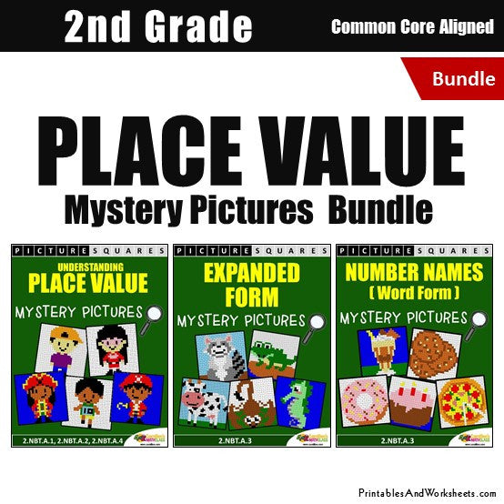 2nd Grade Place Value Mystery Pictures Coloring Worksheets