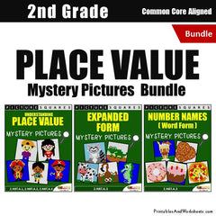 2nd Grade Place Value Mystery Pictures Coloring Worksheets Bundle