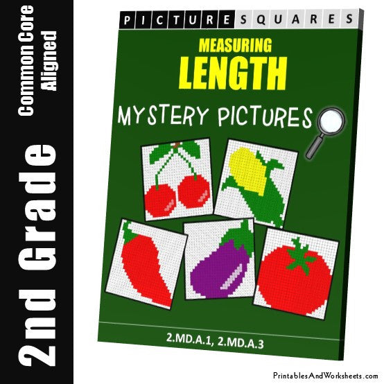 Grade 2 Measuring Length Mystery Pictures Coloring Worksheets