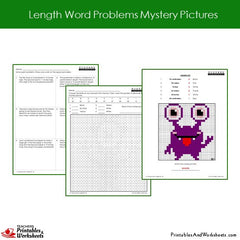 2nd Grade Length Word Problems Mystery Pictures Coloring Worksheets