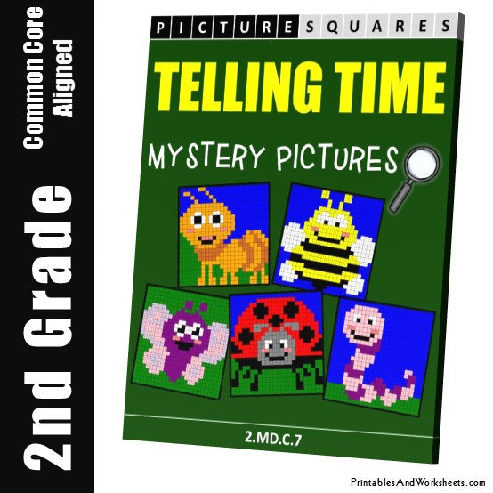 Grade 2 Telling Time Mystery Pictures Coloring Worksheets