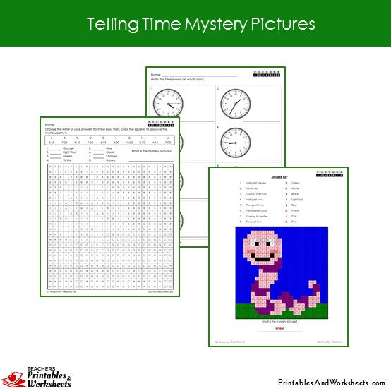Grade 2 Telling Time Coloring Worksheets Sample 2