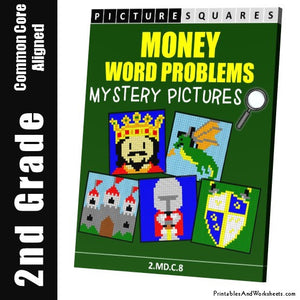 Grade 2 Money Word Problems Mystery Pictures Coloring Worksheets
