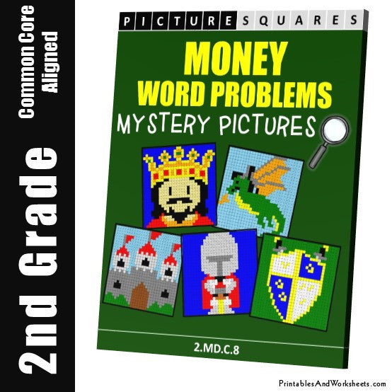 2nd Grade Money Word Problems Mystery Pictures Coloring Worksheets -  Printables & Worksheets