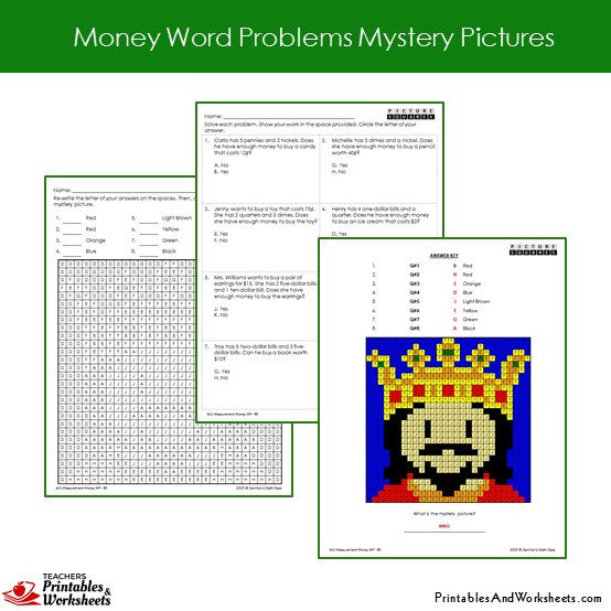 Grade 2 Money Word Problems Mystery Pictures Sample 1