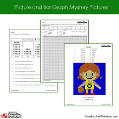 2nd Grade Picture Graph and Bar Graph Mystery Pictures Coloring Worksheets