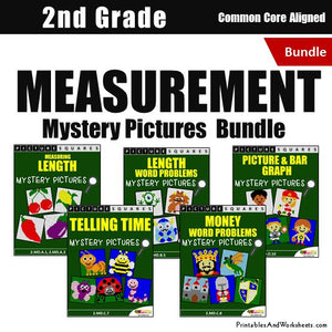Grade 2 Measurement Coloring Worksheets Mystery Pictures Bundle