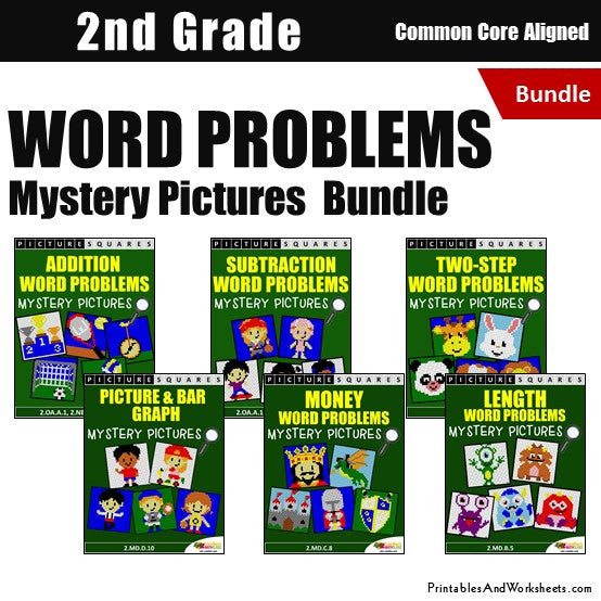 2nd Grade Word Problems Mystery Pictures Coloring Worksheets Bundle -  Printables & Worksheets