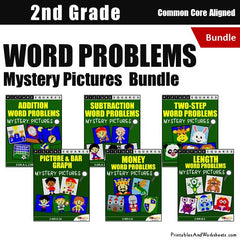 2nd Grade Word Problems Mystery Pictures Coloring Worksheets Bundle