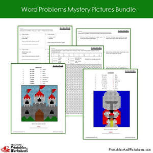 Grade 2 Word Problems Mystery Pictures Coloring Worksheets - Castle, Knight