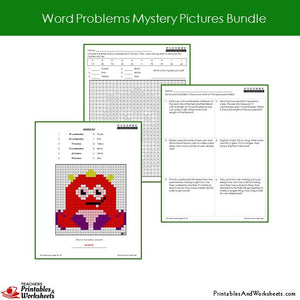 Grade 2 Word Problems Mystery Pictures Coloring Worksheets - Monster