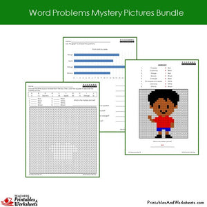 Grade 2 Word Problems Mystery Pictures Coloring Worksheets - Boy