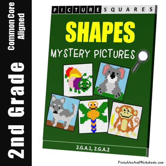 Grade 2 Shapes Mystery Pictures Coloring Worksheets