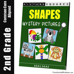 2nd Grade Shapes Mystery Pictures Coloring Worksheets