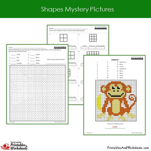 Grade 2 Shapes Mystery Pictures Coloring Worksheets Sample 1