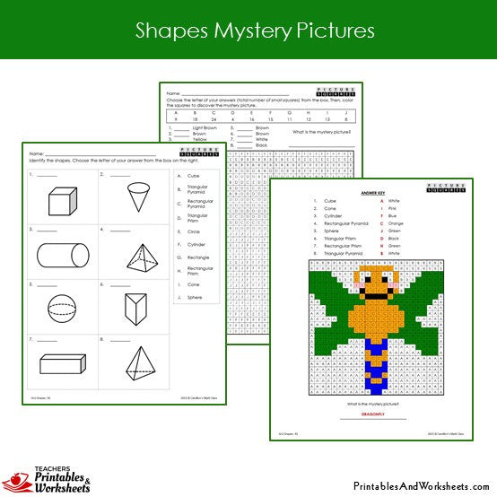 Grade 2 Shapes Mystery Pictures Coloring Worksheets Sample 2