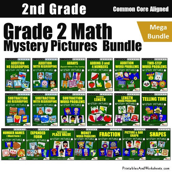 Grade 2 Math Coloring Worksheets - Mystery Pictures Bundle