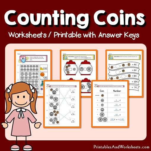 Counting Coins Worksheets and Printables with Answer Keys Cover