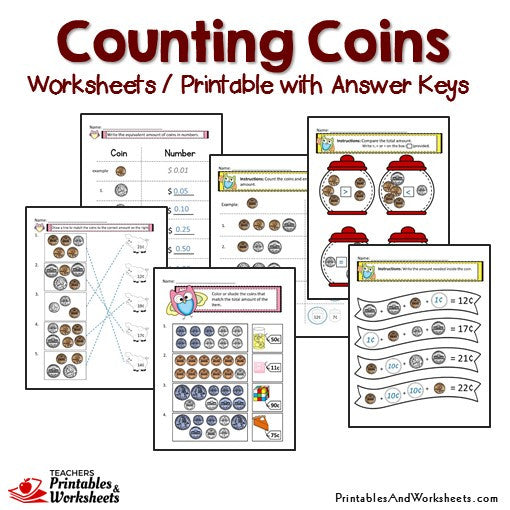 Counting Coins Worksheets and Printables with Answer Keys Sample