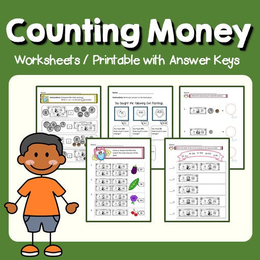 Counting Money Worksheets and Printable with Answer Keys Cover