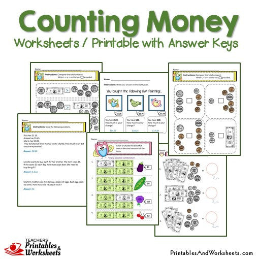 Counting Money Worksheets and Printable with Answer Keys Sample