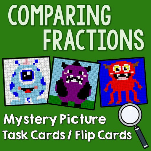 Comparing Fractions Mystery Pictures Activities Task Cards Cover