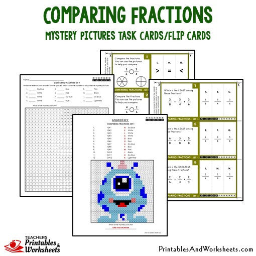 Comparing Fractions Mystery Pictures Activities Task Cards Sample