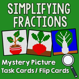 Simplifying Fractions Task Cards / Flip Cards Cover
