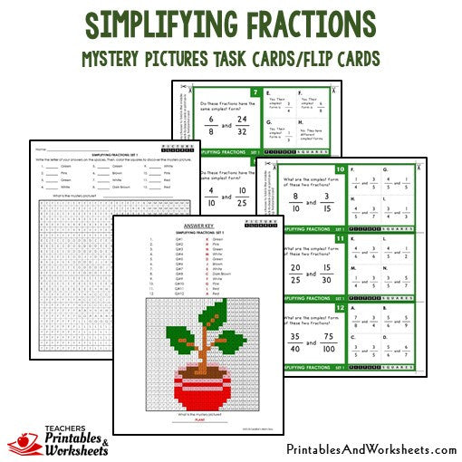 Simplifying Fractions Task Cards / Flip Cards Sample