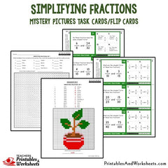 Simplifying Fractions Mystery Picture Task Cards With Coloring Worksheets