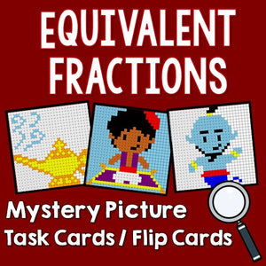 Equivalent Fractions Mytery Pictures Task Cards/Flip Cards Cover