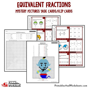 Equivalent Fractions Mytery Pictures Task Cards/Flip Cards Sample