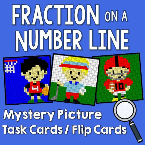 Fraction on a Number Line Mystery Picture Task Cards