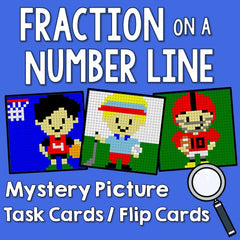 Fractions on a Number Line Mystery Picture Task Cards With Coloring Worksheets