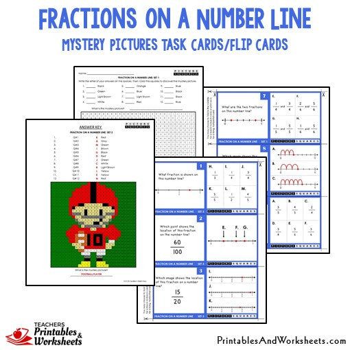 Fraction on a Number Line Mystery Picture Task Cards Sample