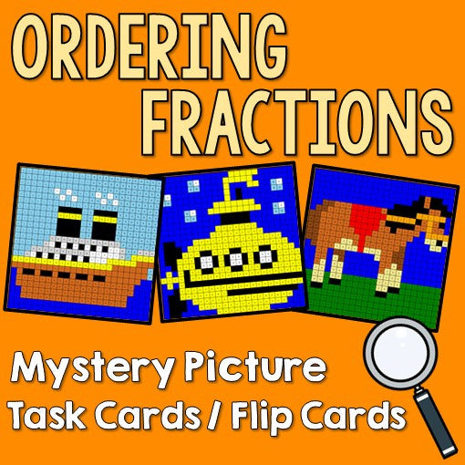Ordering Fractions Mystery Pictures Task Cards/Flip Cards Cover