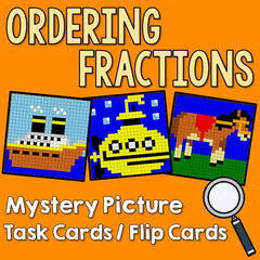 Ordering Fractions Mystery Picture Task Cards With Coloring Worksheets