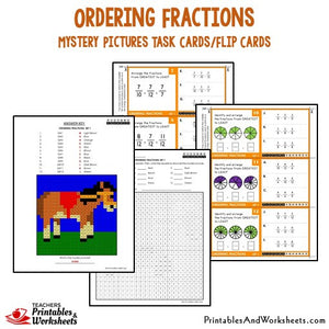 Ordering Fractions Mystery Pictures Task Cards/Flip Cards Sample