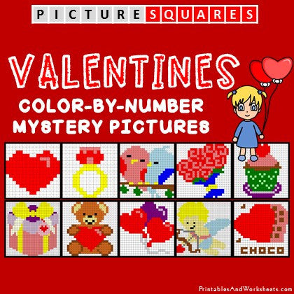 valentines color by number mystery pictures activities printables worksheets. Black Bedroom Furniture Sets. Home Design Ideas